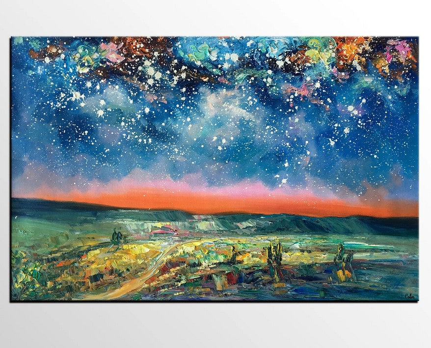 Night Sky Paintings, Starry Night Sky, Hand Painted Oil Painting, Landscape Paintings, Buy Paintings Online