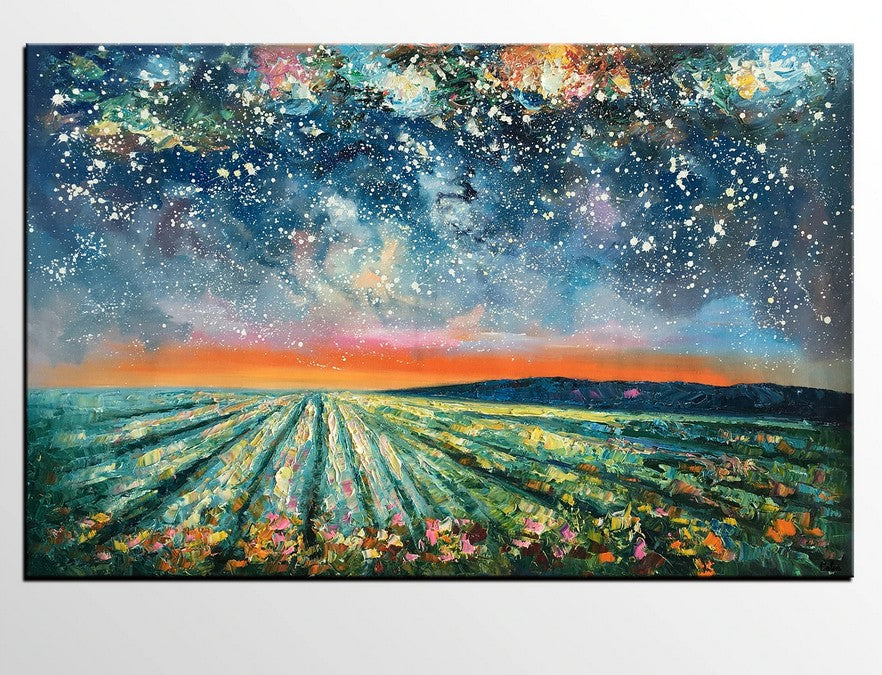 Night Sky Paintings, Hand Painted Oil Painting, Landscape Paintings, Heavy Texture Paintings, Buy Paintings Online