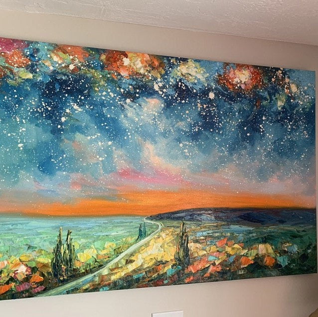 Night Sky Painting, Landscape Painting, Hand Painted Wall Art, Original Landscape Painting