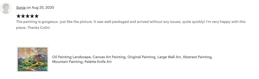 Buyer's Review on the mountian landscape painting, hand painted canvas painting