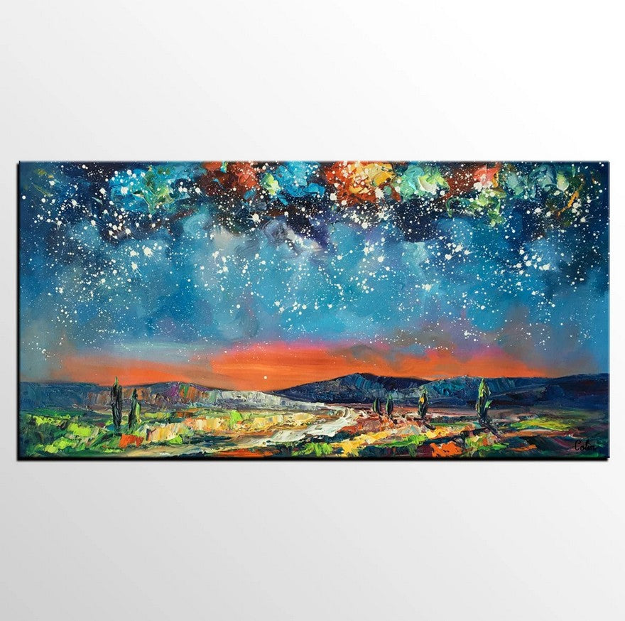 Starry Night Sky Painting, Original Landscape Painting, Canvas Painting for Bedroom, Heavy Texture Canvas Art