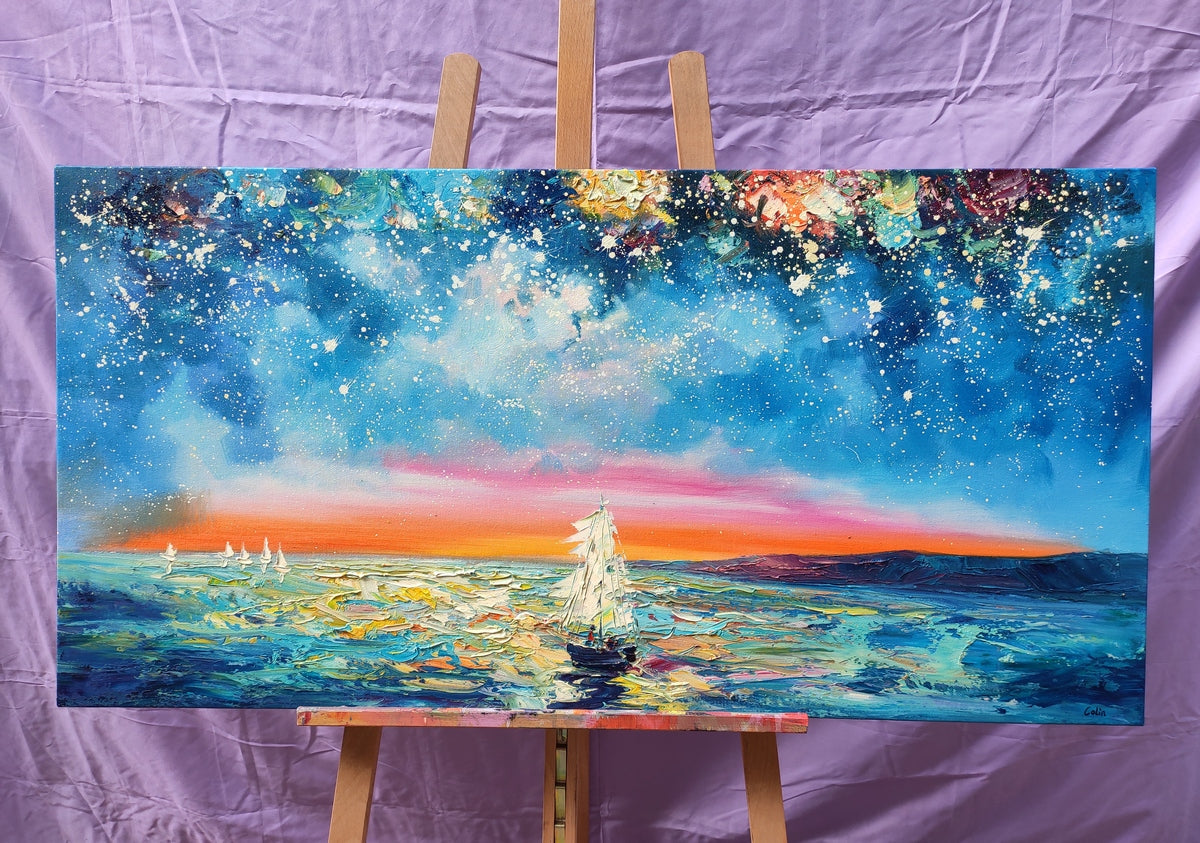 Original Abstract Art Paintings, Impasto Artwork, Starry Night Sky Painting, Canvas Painting for Bedroom, Extra Large Painting