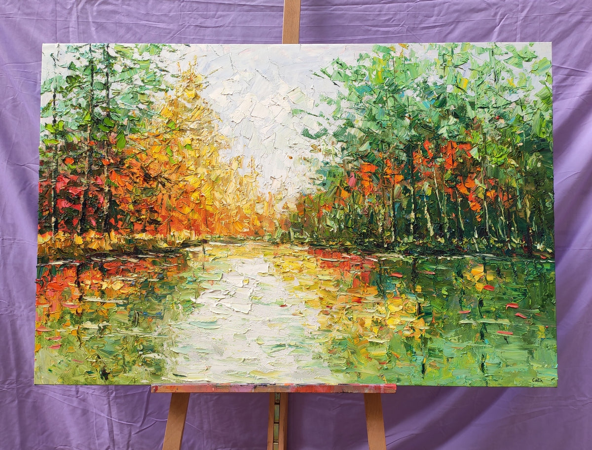 Original Landscape Painting, Hand Painted Wall Art, Forest Painting, Heavy Texture Painting