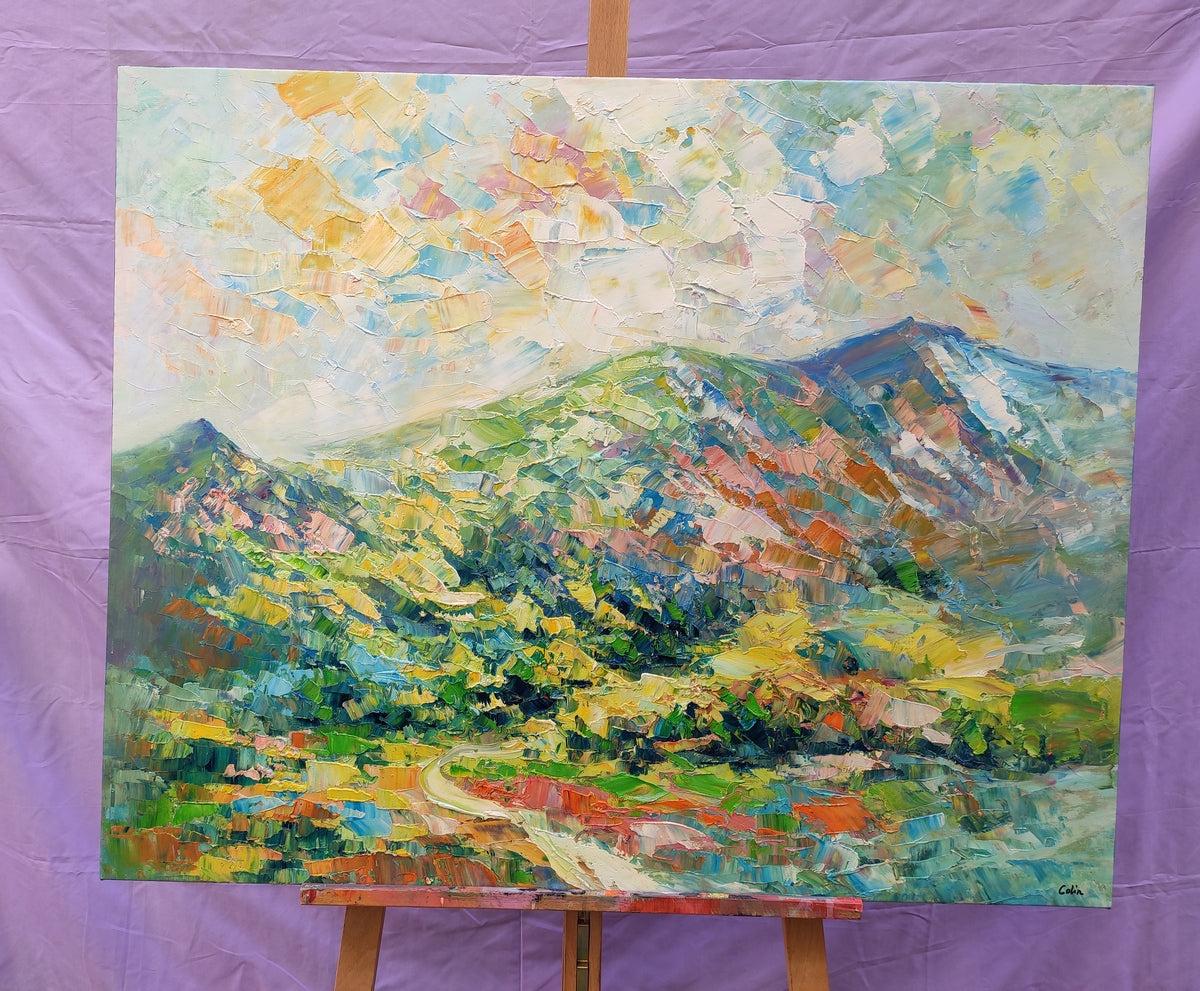 Mountain Landscape Painting, Abstract Mountain Painting, Hand Painted Canvas Painting, Original Painting by Colin Ju