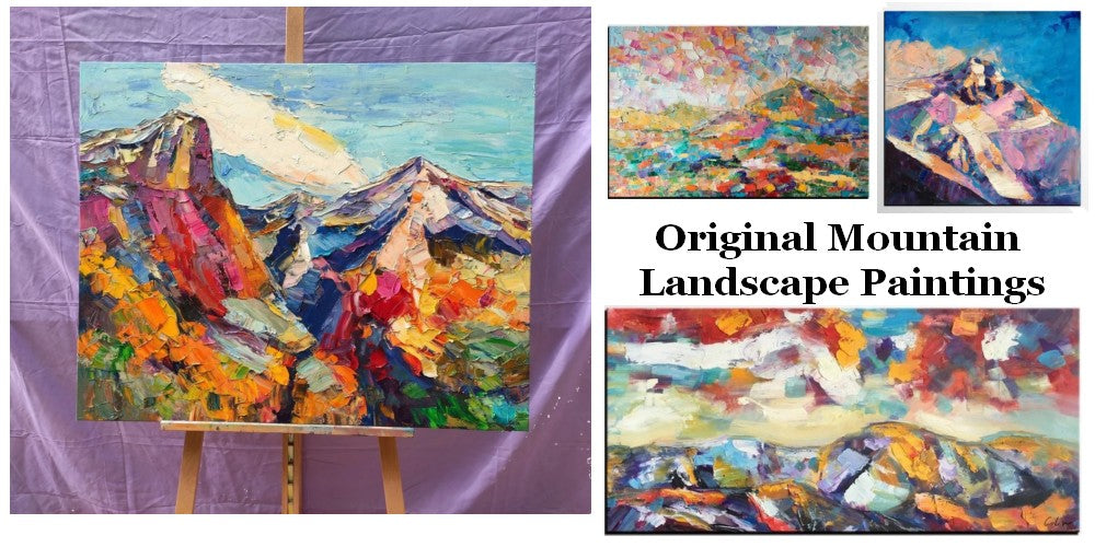 Original Mountain Landscape Paintings, Abstract Mountain Paintings, Hand Painted Canvas Art, Heavy Texture Artwork