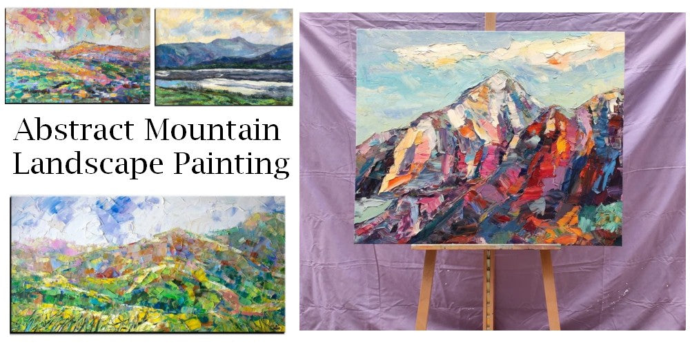 Mountain Paintings for Sale, Original Landscape Paintings, Abstract Mountain Painting, Oil Painting on Canvas, Large Painting for Sale
