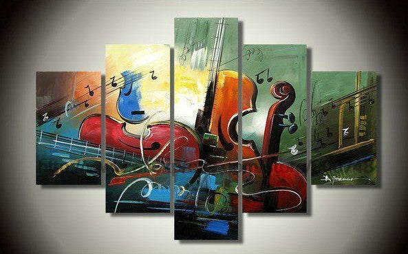 Multi Panel Group Painting, Music Violin Painting, Modern Paintings for Bedroom, Hand Painted Canvas Paintings