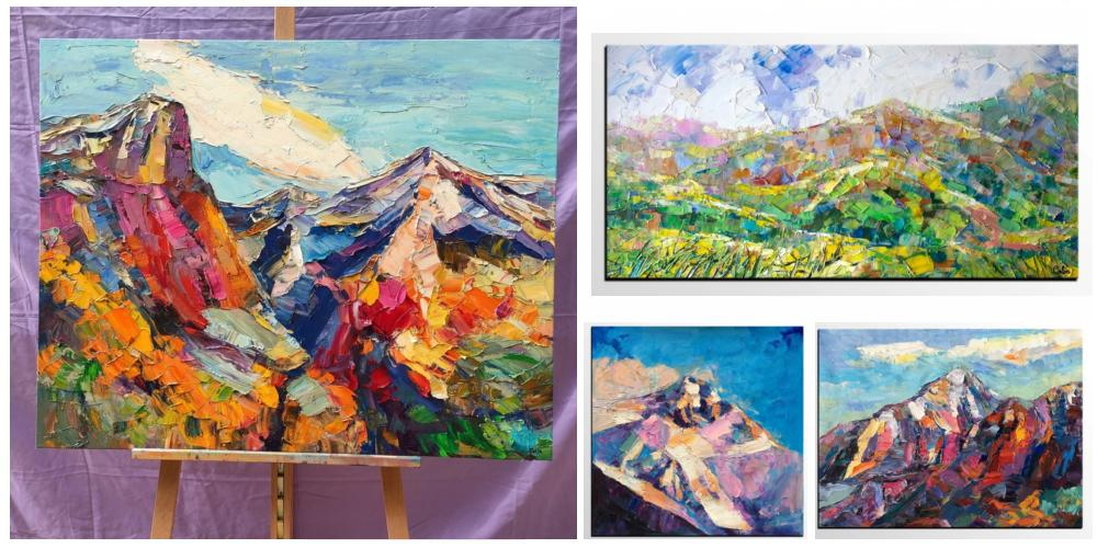 Mountain Paintings, Living Room Paintings, Landscape Paintings, Mountain Landscape Paintings, Abstract Mountain Paintings, Mountain Oil Painting on Canvas, Heavy Texture Paintings, Landscape Paintings for Living Room