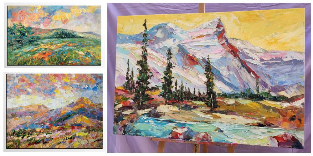 Paintings for Living Room, Mountain Landscape Paintings, Bedroom Wall Art Paintings, Original Landscape Paintings, Palette Knife Paintings, Oil Painting on Canvas, Acrylic Mountain Paintings