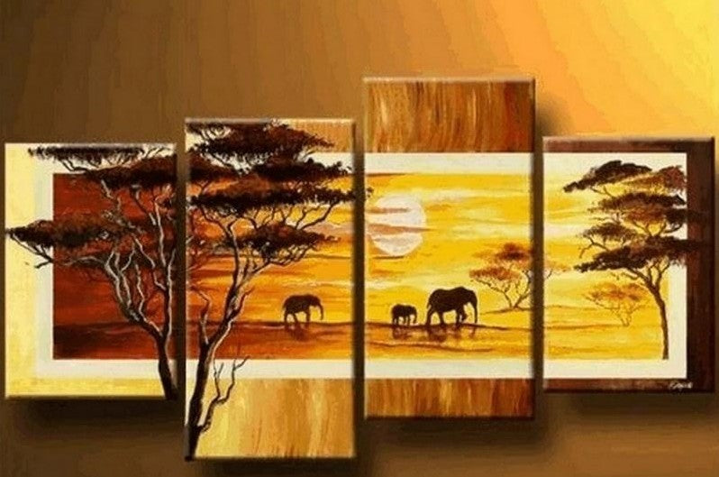 African Canvas Painting, African Animal Painting, Large Painting on Canvas, Wall Art Painting, Living Room Canvas Painting