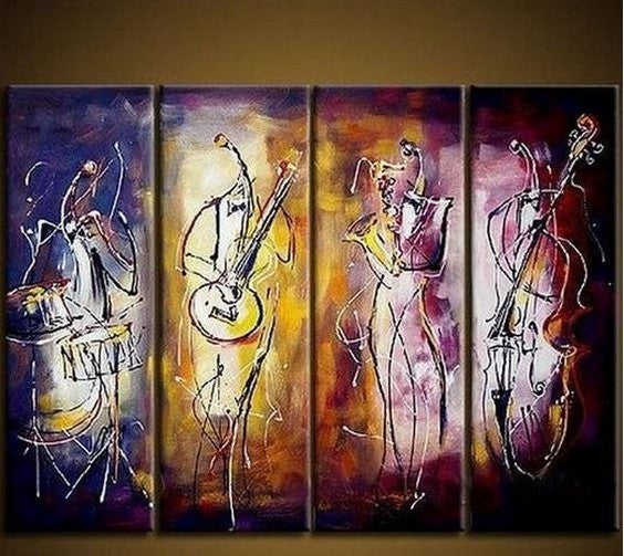 Music Player Painting, Large Painting on Canvas, Abstract Wall Art Painting, Acrylic Painting for Living Room