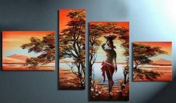 African Girl Painting, Extra Large Painting on Canvas, African Canvas Painting, Living Room Wall Art Paintings, Acrylic Painting on Canvas