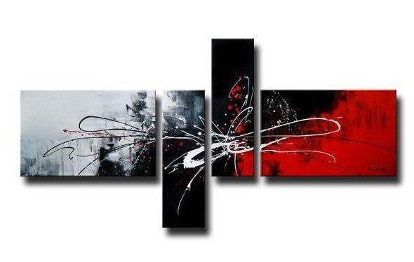 4 Piece Acrylic Painting, Simple Modern Art, Abstract Painting on Sale, Acrylic Painting for Dining Room, Black and Red Canvas Painting, Buy Art Online