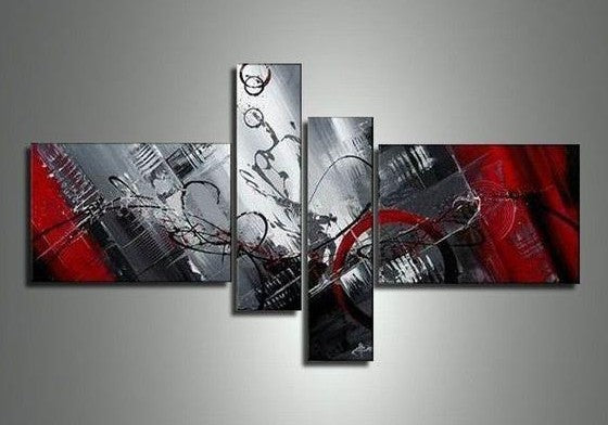 4 Piece Abstract Painting, Modern Abstract Painting, Canvas Painting for Sale, Black and Red Painting, Contemporary Art for Living Room