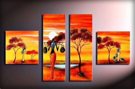 4 Piece Canvas Painting, African Canvas Painting, Oil Painting for Sale, African Woman Painting, Living Room Canvas Painting