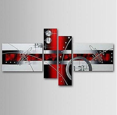 Black and Red Abstract Painting, Simple Modern Wall Art, Acrylic Abstract Painting, 4 Piece Wall Art Paintings, Multiple Canvas Paintings