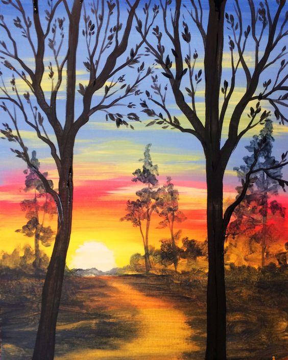 40 Easy Landscape Painting Ideas, Easy Painting Ideas for Kids, Easy Acrylic Painting on Canvas, Simple Painting Ideas for Beginners, Easy Forest Tree Wall Art Paintings