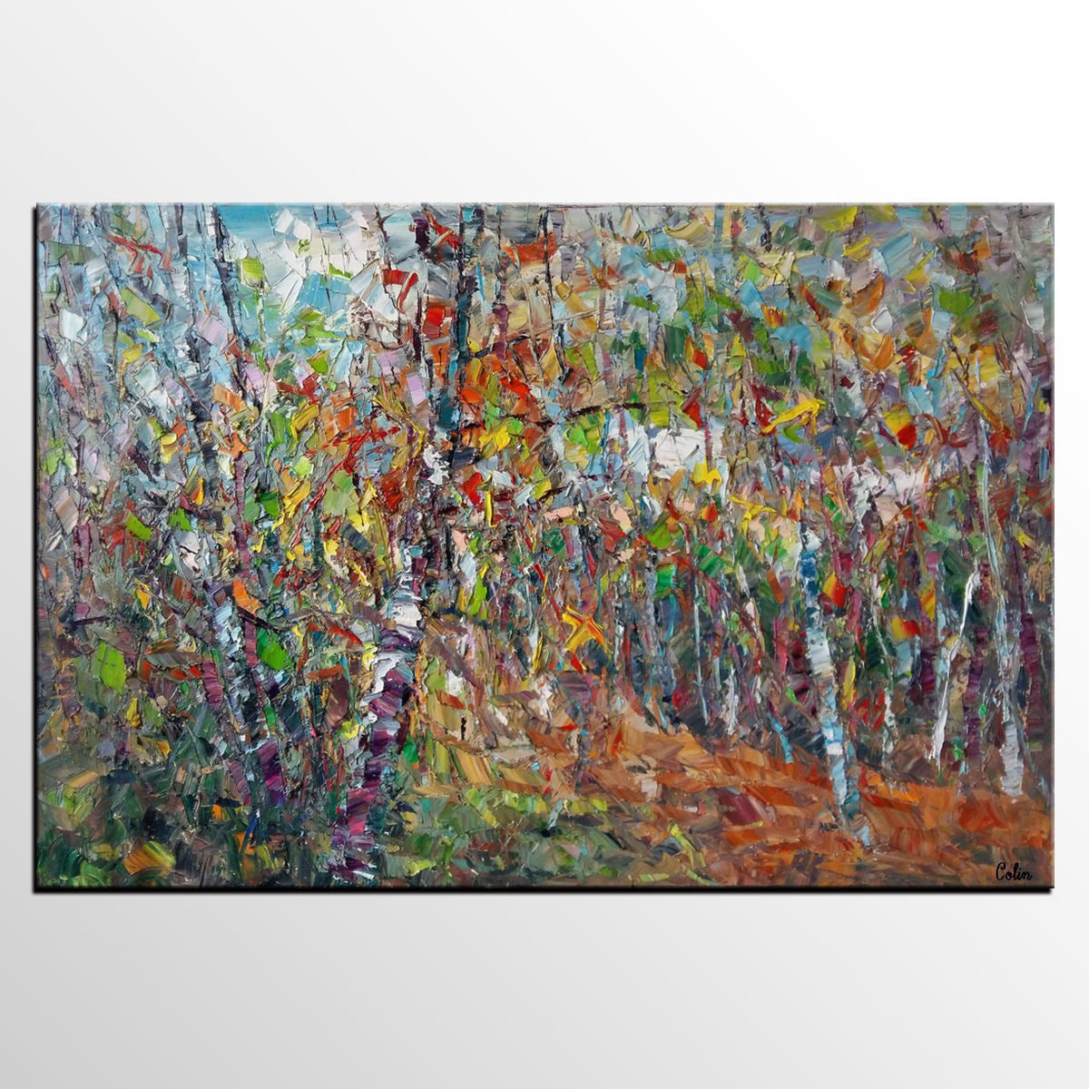 Abstract Art Painting, Landscape Art, Canvas Wall Art, Custom Painting, Autumn Tree Painting