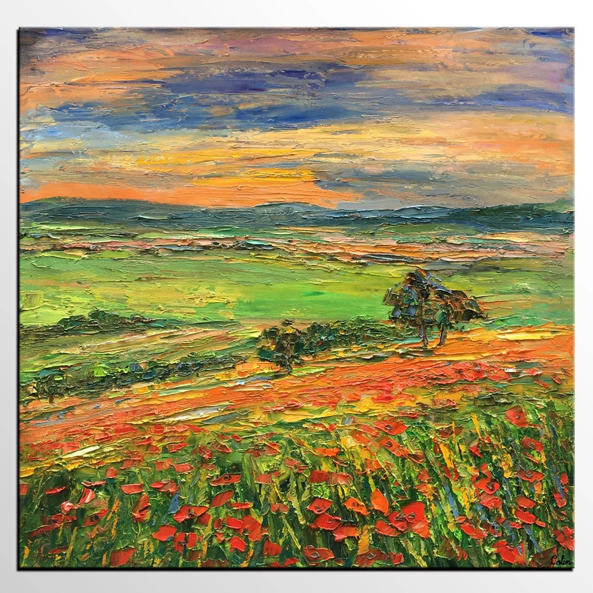 Abstract Landscape Paintings, Flower Field Painting, Heavy Texture Canvas Paintings, Original Landscape Painting, Landscape Paintings for Bedroom