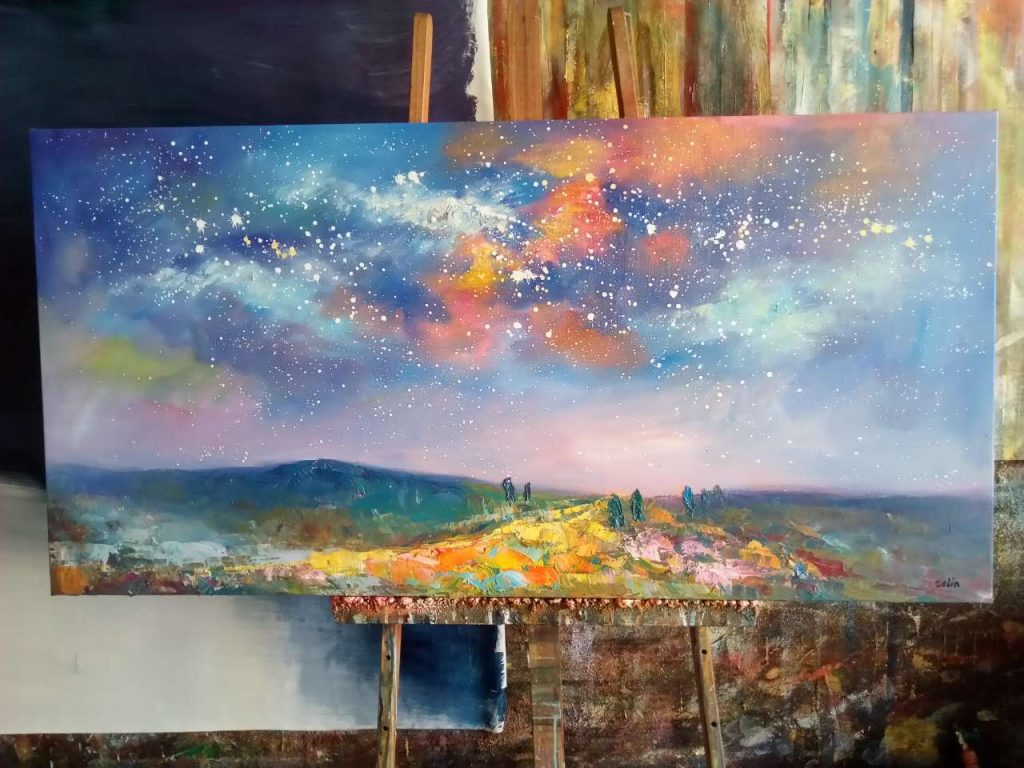 Abstract Artwork, Landscape Painting, Oil Painting, Contemporary Artwork, Starry Night Sky