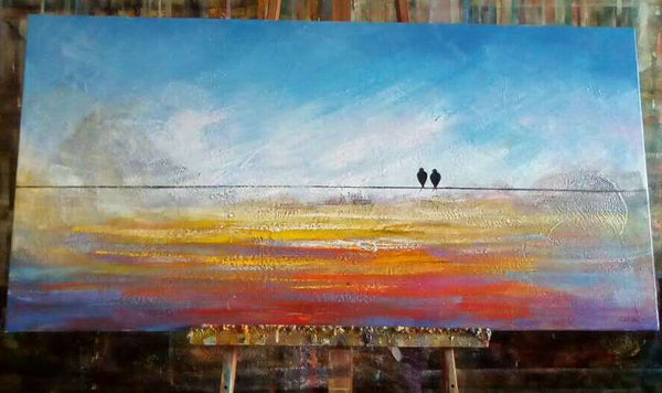 Love birds painting, acrylic art