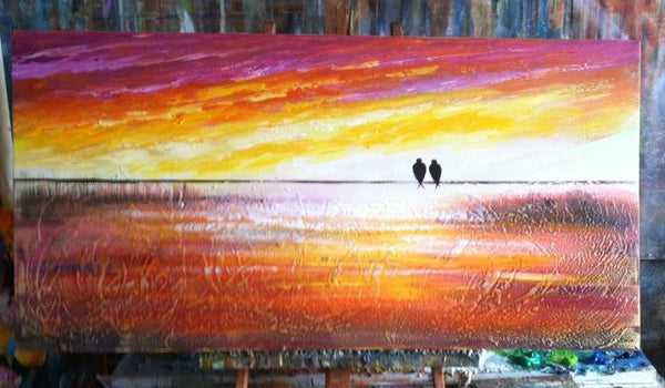 love birds art, bird painting, art on canvas