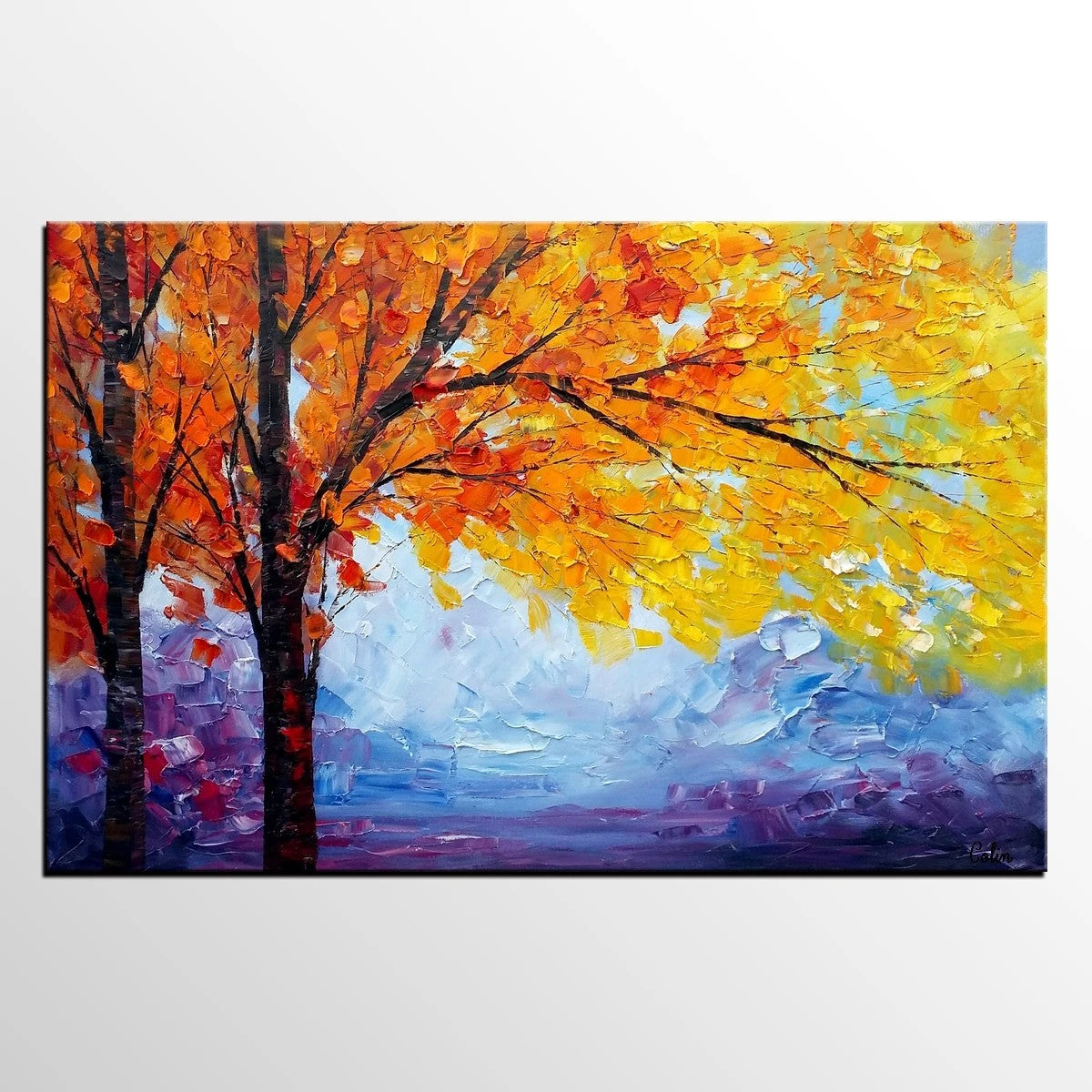 Autumn Tree Painting, Landscape Painting on Canvas, Abstract Landscape Painting, Living Room Canvas Painting, Palette Knife Paintings