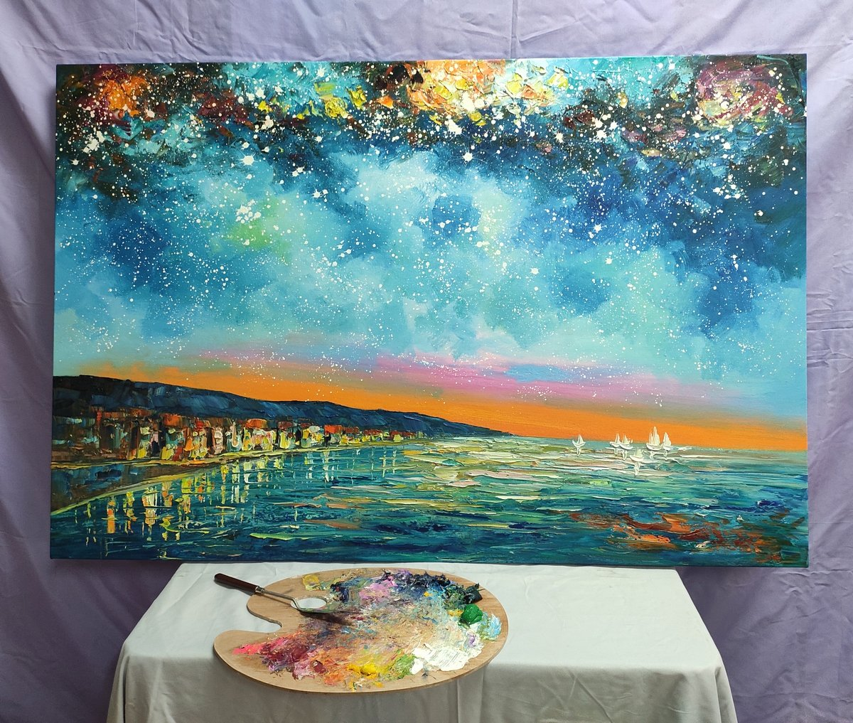 Landscape Canvas Paintings, Starry Night Sky Painting, Buy Paintings Online, Landscape Painting for Living Room, Original Painting on Canvas