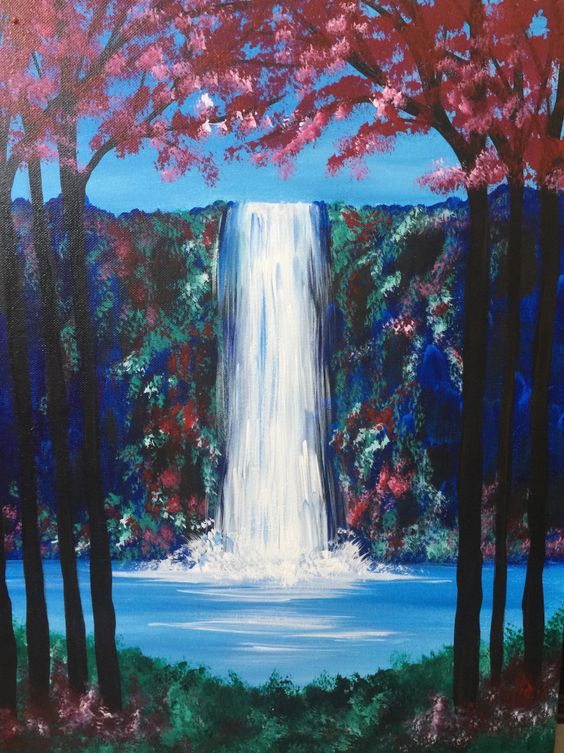 40 Easy Painting Ideas for Kids, Simple Painting Ideas for Beginners, Waterfall Painting, Easy Acrylic Painting on Canvas, Easy Landscape Painting Ideas, Easy Abstract Wall Art Paintings