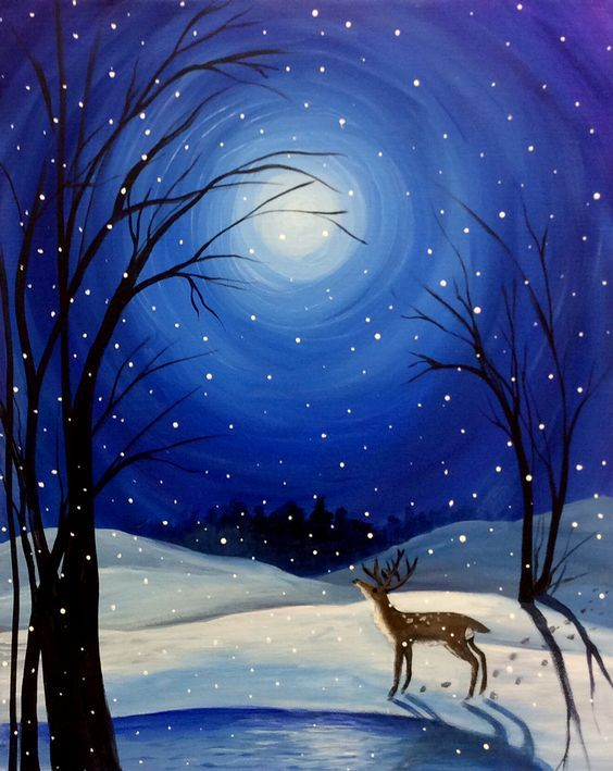 40 Easy Painting Ideas for Beginners, Simple Painting Ideas for Kids, Easy Acrylic Painting on Canvas, Easy Landscape Painting Ideas, Easy Winter Snow Wall Art Paintings