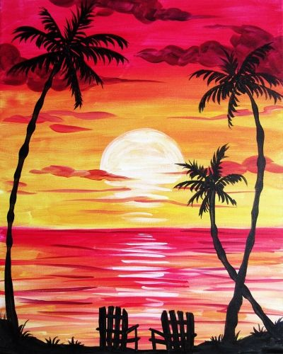 40 Easy Painting Ideas for Kids, Easy Acrylic Painting on Canvas, Easy Landscape Painting Ideas,  Simple Painting Ideas for Beginners, Easy Sunset Palm Tree Wall Art Paintings