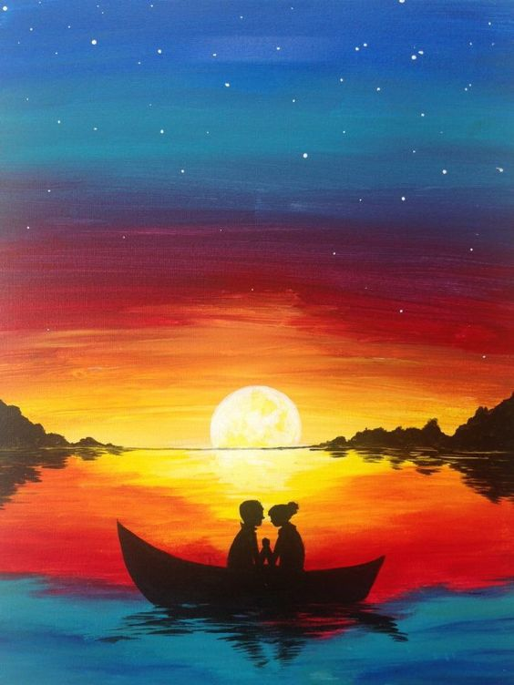 40 Easy Painting Ideas for Kids, Easy Acrylic Painting on Canvas, Easy Landscape Painting Ideas,  Simple Painting Ideas for Beginners, Easy Sunset Boat Wall Art Paintings