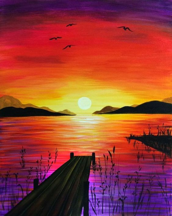 40 Easy Painting Ideas for Kids, Easy Acrylic Painting on Canvas, Easy Landscape Painting Ideas,  Simple Painting Ideas for Beginners, Easy Sunset Wall Art Paintings