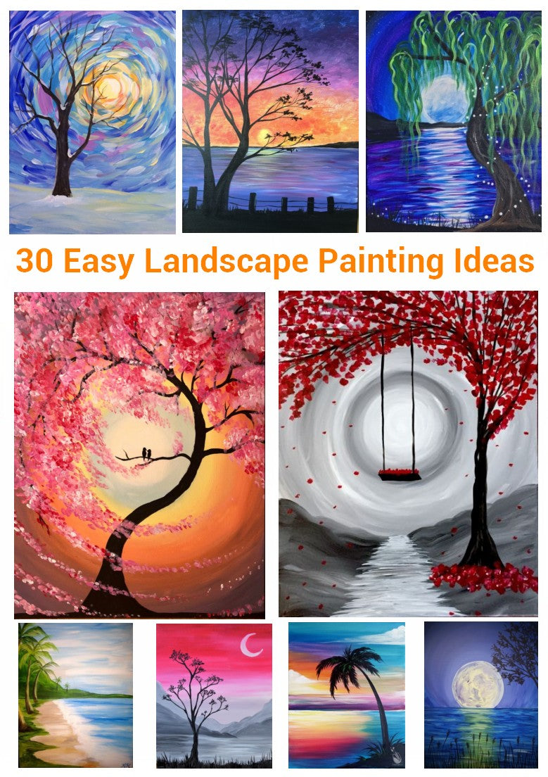 30 Easy Landscape Paintings, Simple Canvas Painting Ideas for Kids, Easy Painting Ideas for Beginners, Easy DIY Paintings, Easy Acrylic Paintings Ideas