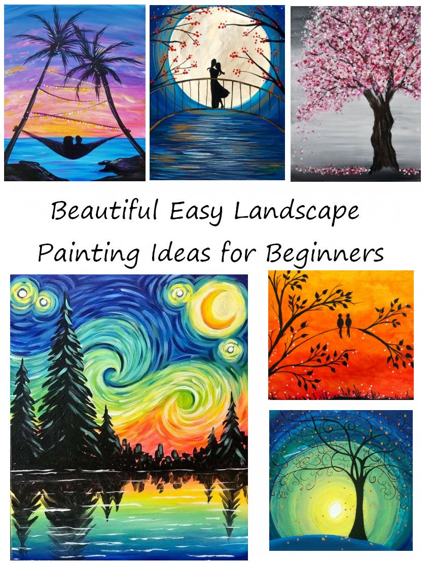 30 Easy Landscape Paintings, Easy Painting Ideas for Beginners, Easy DIY Paintings, Simple Canvas Painting Ideas for Kids, Easy Acrylic Paintings Ideas