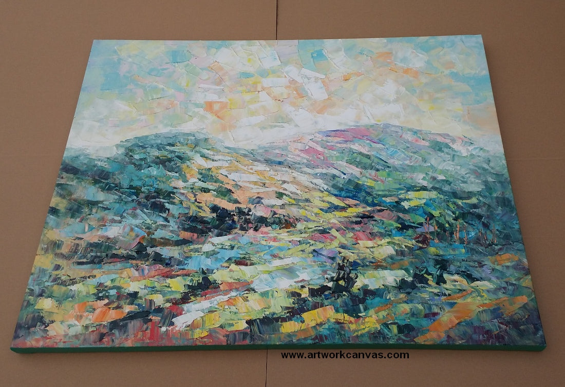 abstract mountain landscape art, hand painted art from artworkcanvas.com