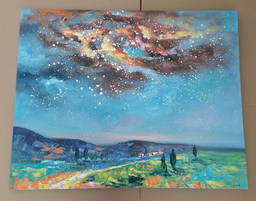 starry night sky painting, on painting on canvas