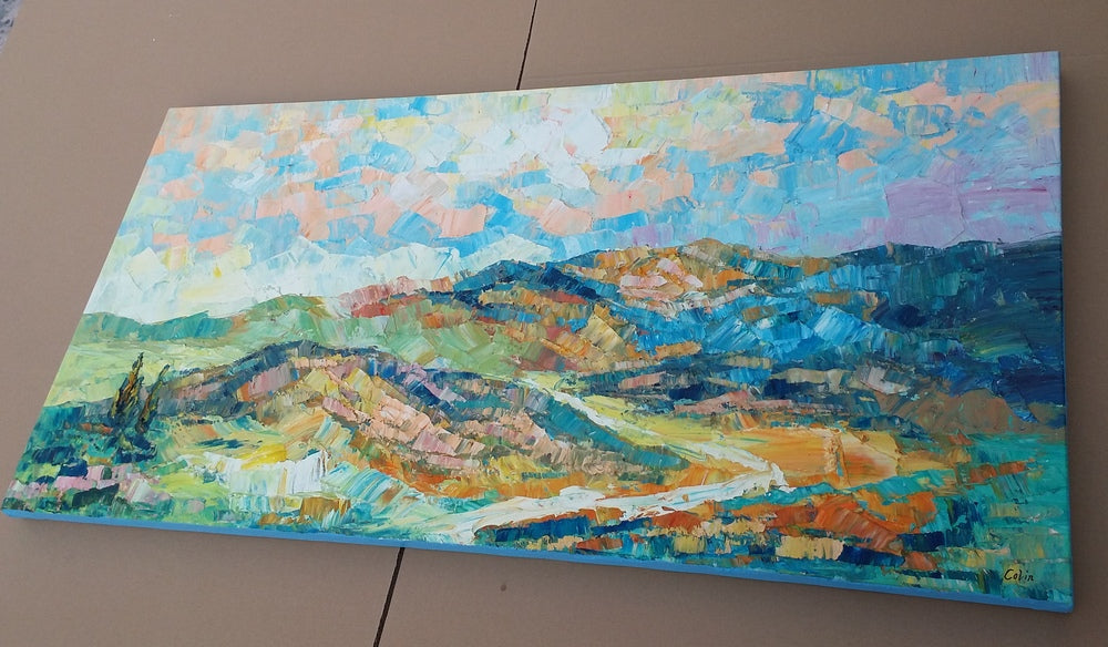 abstract mountain landscape painting, palette knife art