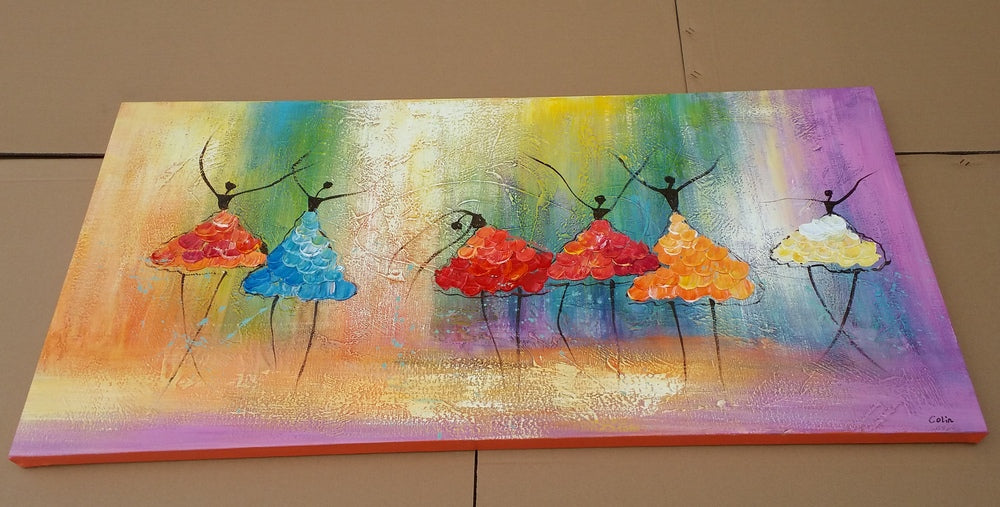 ballet dancers painting, acrylic art on canvas