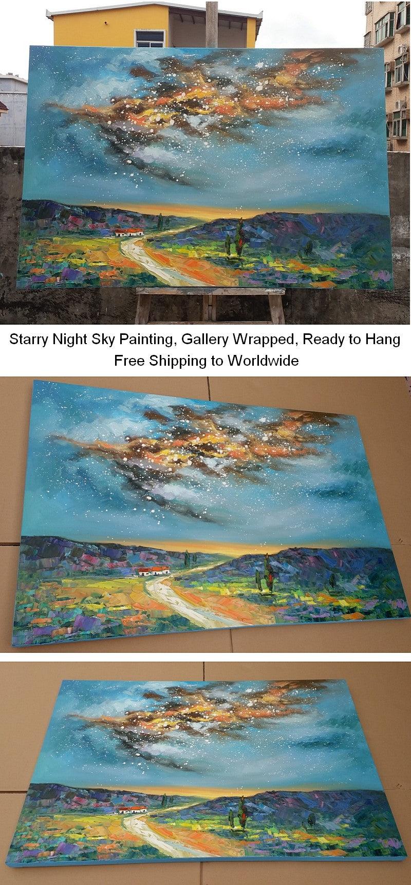 Starry Night Sky Painting, Abstract Landscape Art, Bedroom Wall Art