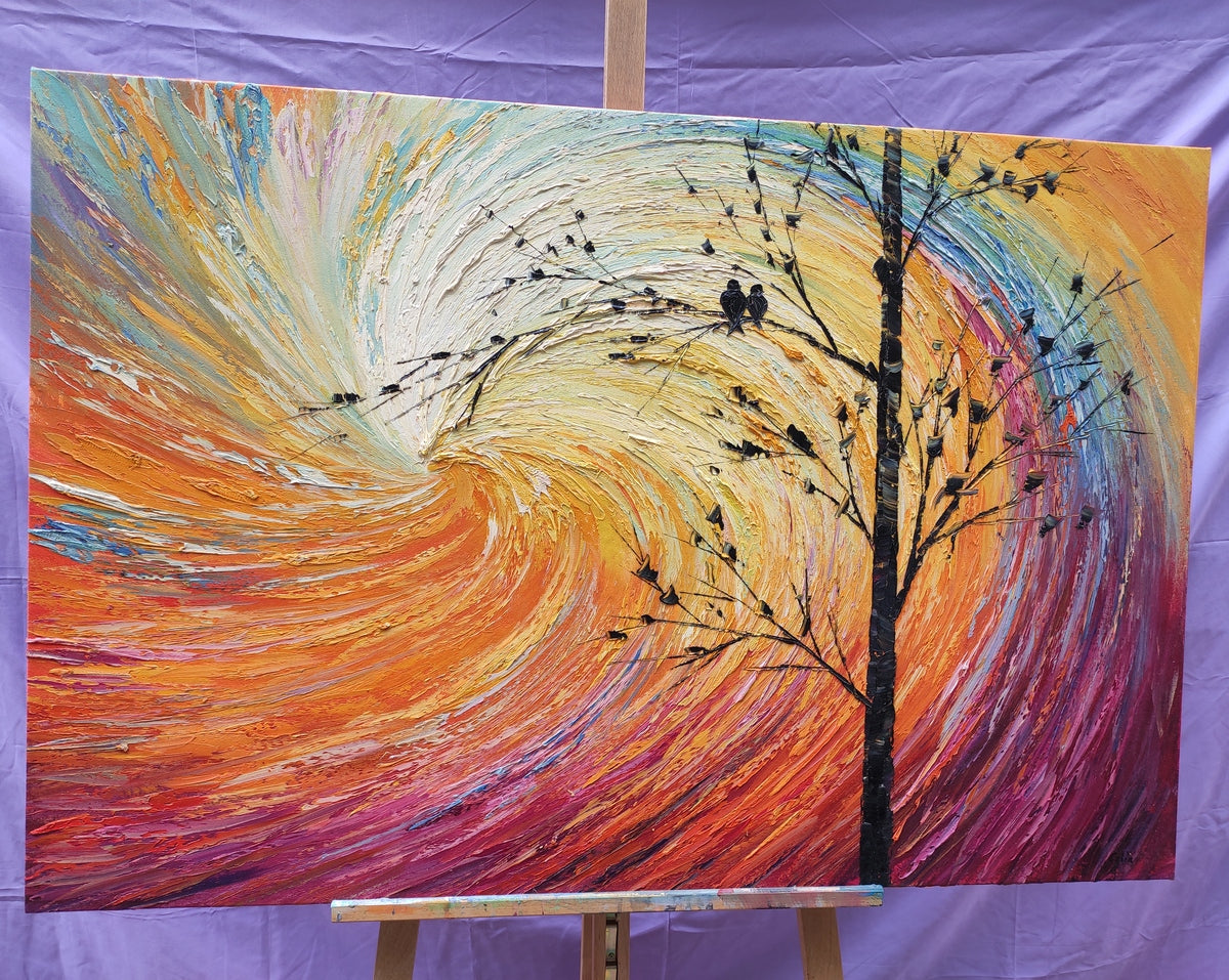 Love Birds Painting, Original Art Painting, Abstract Painting of Love
