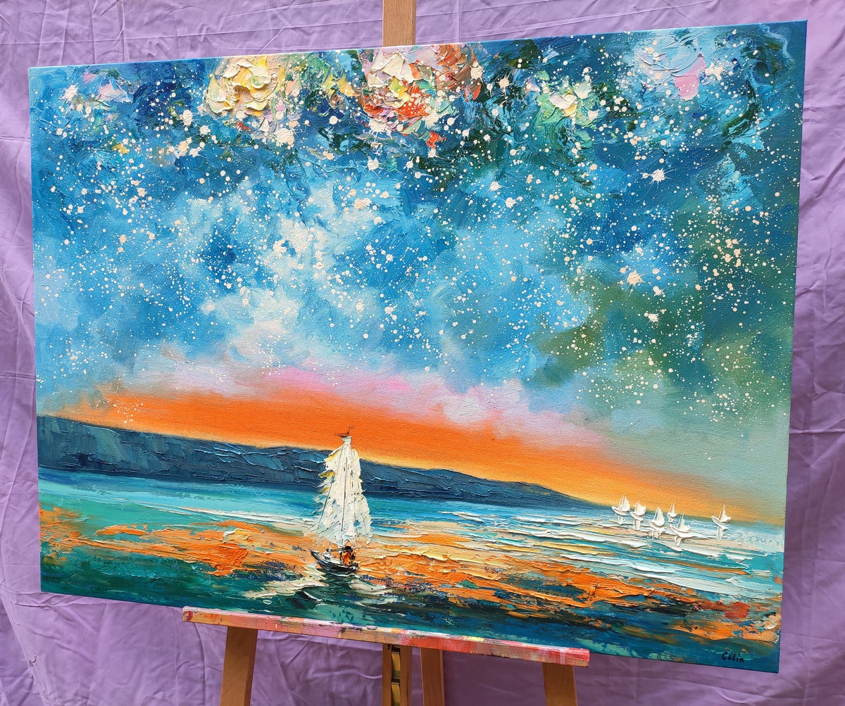 Landscape Canvas Painting for Living Room, Abstract Painting for Sale, Sail Boat under Starry Night Sky Painting, Buy Art Online