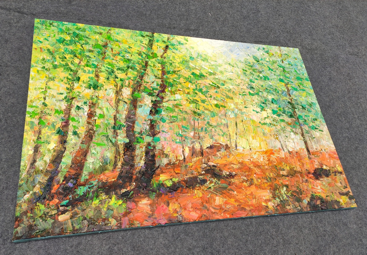 Hand Painted Canvas Art, Autumn Forest Tree Painting, Original Oil Paintings, Heavy Texture Art