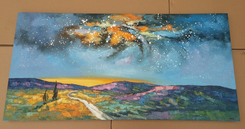 starry night sky painting, landscape painting on canvas