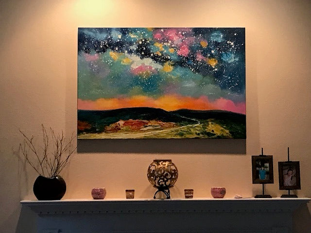 Landscape Paintings on Canvas, Starry Night Painting, Paintings for Dining Room, Hand Painting Wall Paintings, Night Sky Painting