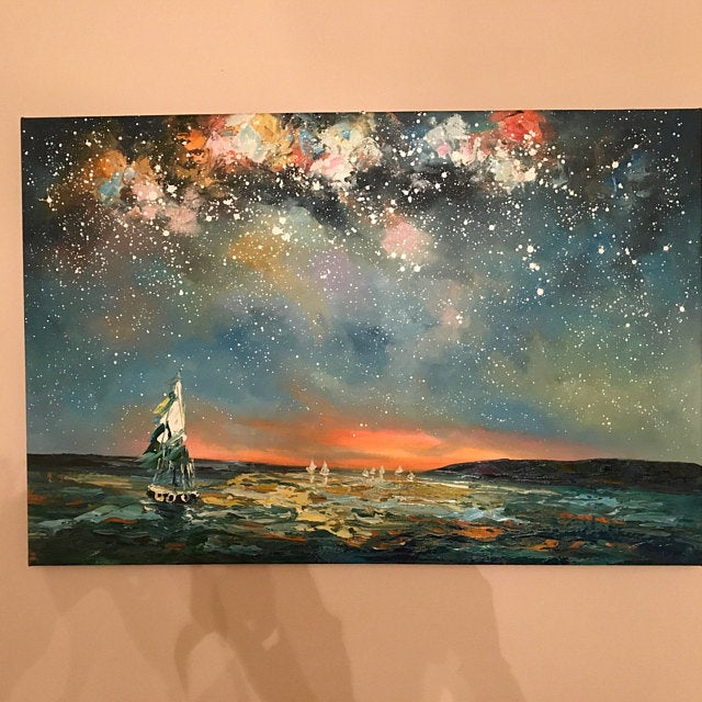 Hand Painted Oil Painting, Palette Knife Painting, Sail Boat under Starry Night Painting, Large Landscape Painting for Living Room