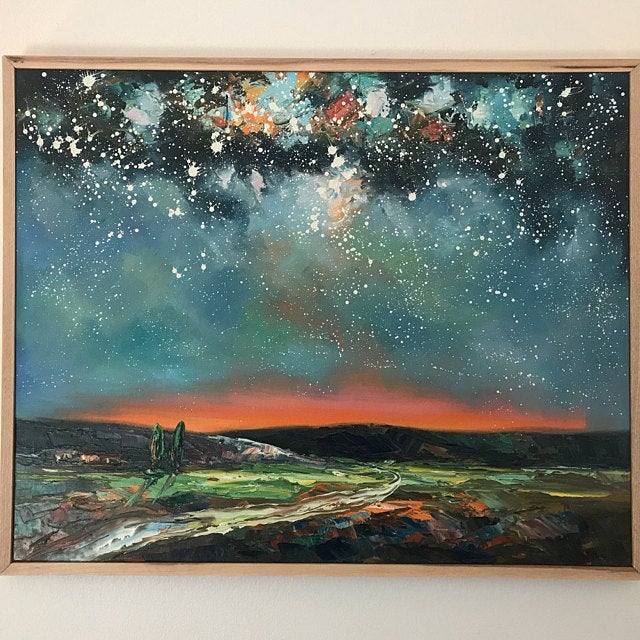 Starry Night Sky Oil Painting, Original Modern Painting, Canvas Art for Bedroom, Extra Large Painting, Hand Painted Art