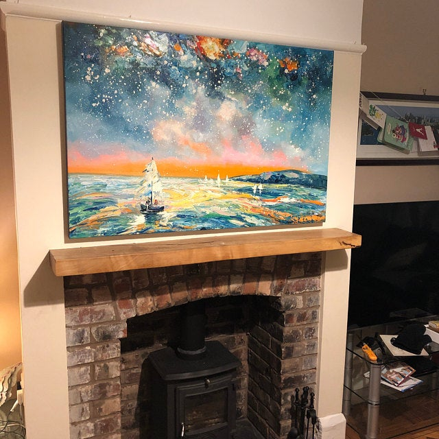 Sail Boat under Starry Night Sky Painting, Canvas Painting for Living Room, Original Landscape Paintings, Hand Painted Wall Art