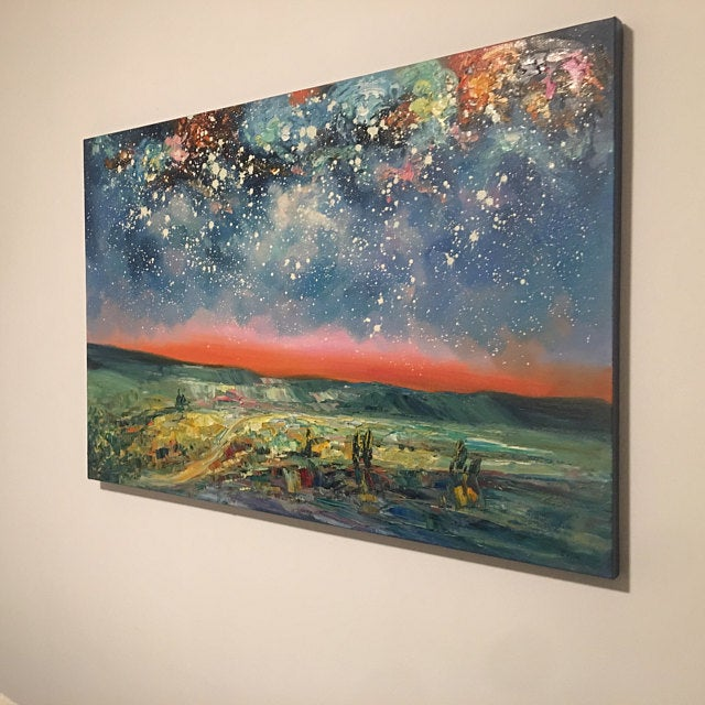 Original Landscape Oil Painting, Starry Night Sky Painting, Large Canvas Painting for Bedroom, Heavy Texture Painting