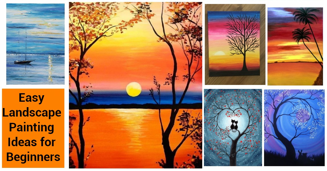 30 Easy Painting Ideas for Beginners, Easy Landscape Paintings, Simple Canvas Painting Ideas for Kids, Easy DIY Paintings, Easy Acrylic Paintings Ideas